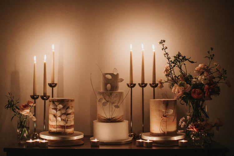 Trio Of Wedding Cakes For Candle Lit Dessert Table By Peboryon // Image By James Frost