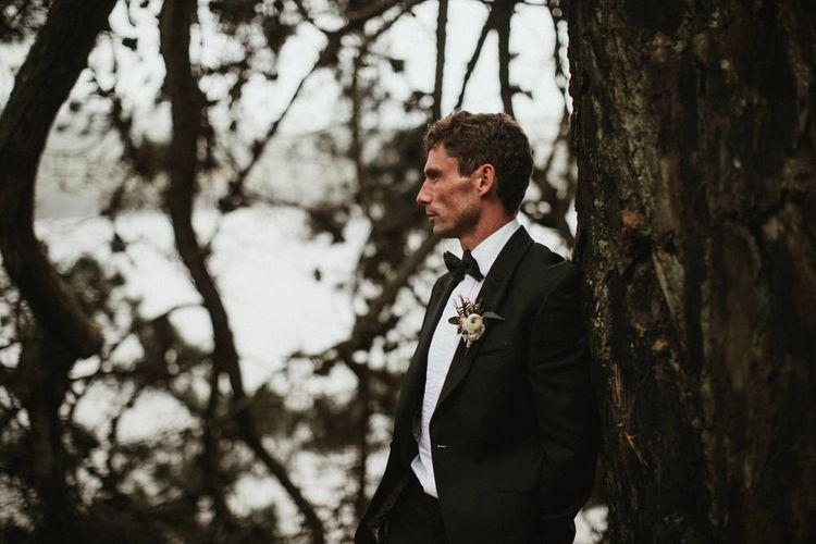 Groom In Black Tux By Marc Wallace For Black Tie Wedding Image By James Frost