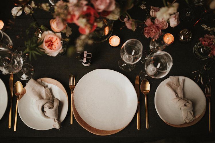 Charcoal Grey Table Linen For Wedding // Image By James Frost Photography