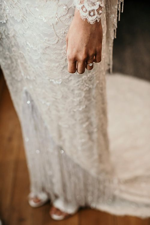 Lace and beaded boho bridal dress with tassel detailing