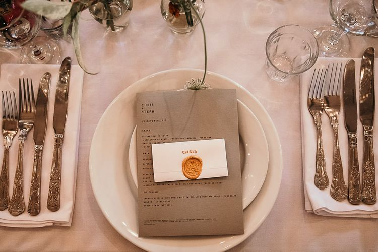 Place setting details at Clapton Country Club wedding for contemporary styled celebration