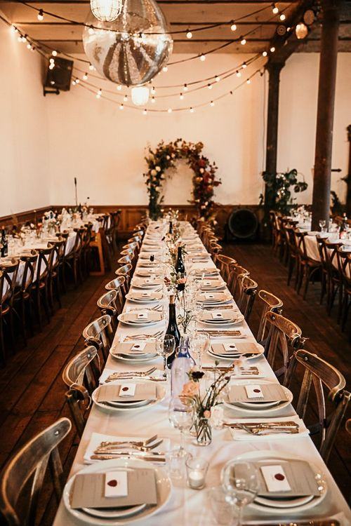 Reception decor with foliage details at Clapton Country Club wedding for botanical style celebration