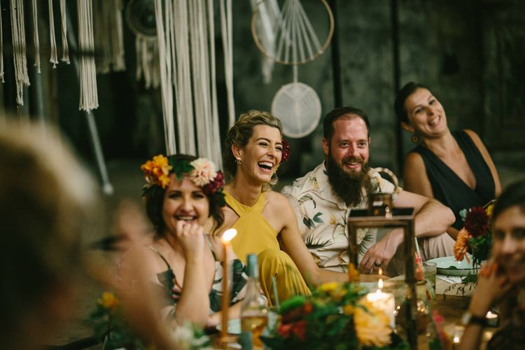 Yellow Wedding Dress With Bridesmaids In Tropical Print For A Relaxed Wedding At The Hatchery South Africa With Images From Andy And Szerdi