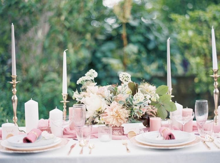 Blush Floral Table Decor by Catherine Short Floral Design