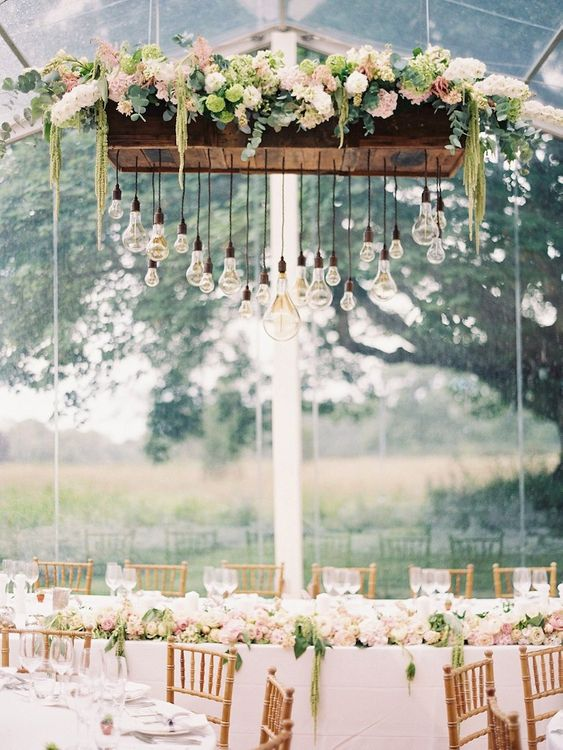 Hanging Floral Arrangement Festoon Lighting by Bels Flowers - Image by Amy Fanton Photography