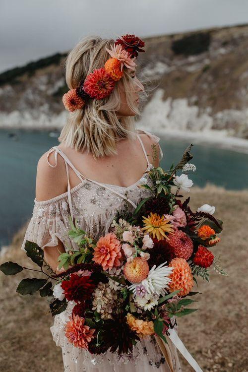 Orange Boho Wedding Flowers by Blume Flowers