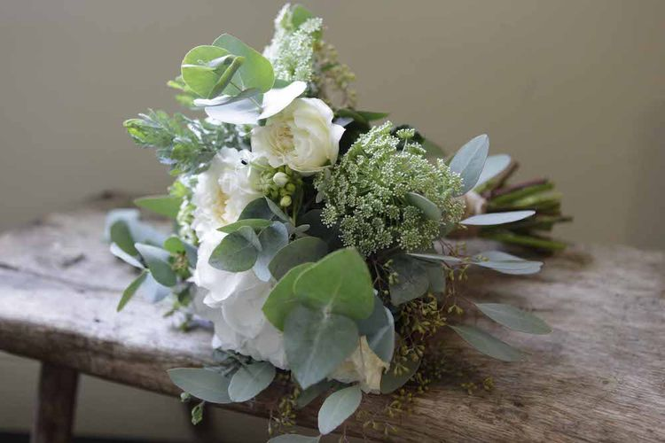 Neutral White and Green Bouquet by Miranda Hackett Flowers - Image by Christina Wilson Elms Photography