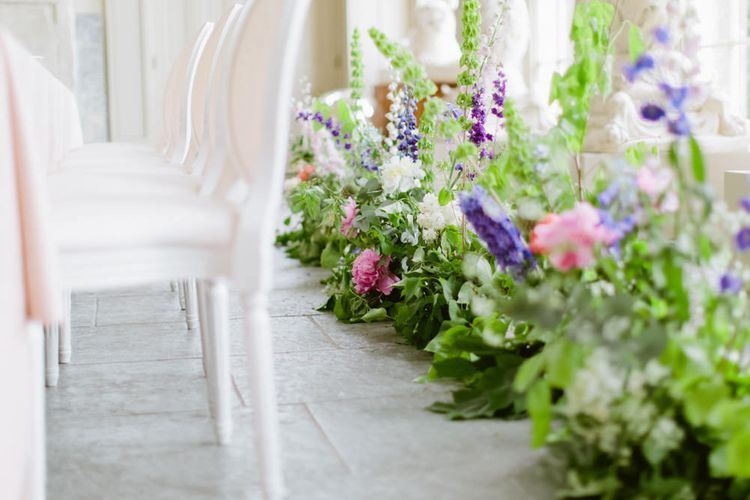 Floral Installation Snapdragon Border On Ground by Green Earth Flowers