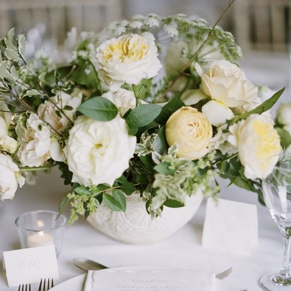Small White Wedding Centrepiece by The Good Florist