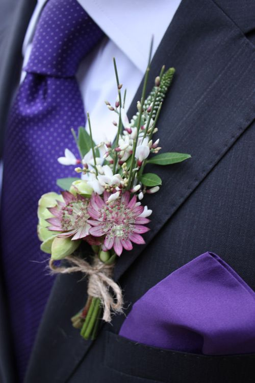 Purple and White Buttonhole by The Summerhouse