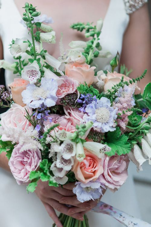Pink and Blue Bouquet by Catherine Short Floral Design