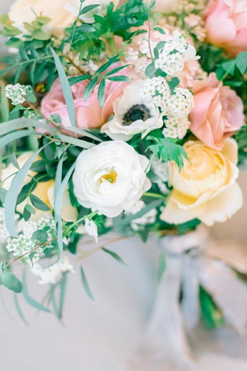 Ranunculus and Roses Pink and Yellow Bouquet by Gather and Bloom