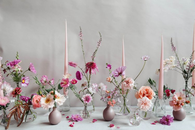 Summer Pink Wedding Flower Table Design by Vervain