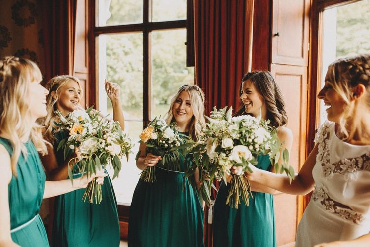 Bridesmaids In Forest Green Dresses With Bride In Rime Arodaky Pennard House Somerset Wedding Images From Ali Paul Photography Film Irene Piera