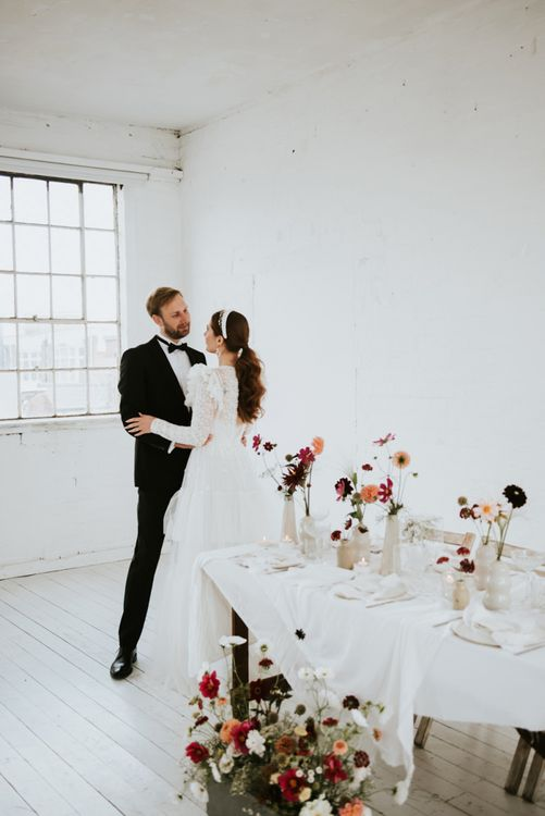 Black tie wedding fashion for minimalist wedding.