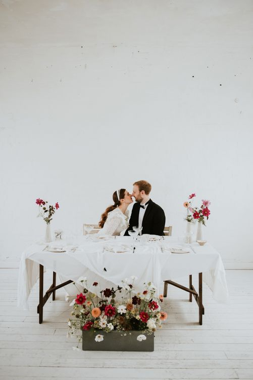 Sweetheart table for minimalist micro wedding