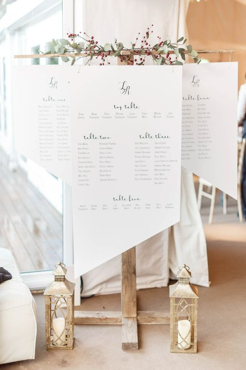 White Geometric Table Plan For Wedding // Image By White Stag Wedding Photography