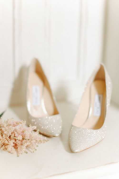 Jimmy Choo Glitter Pumps | Copper, Marble & Foliage Glass Marquee Wedding & Outdoor Ceremony on Temple Island in Oxfordshire | Belle and Beau Fine Art Photography