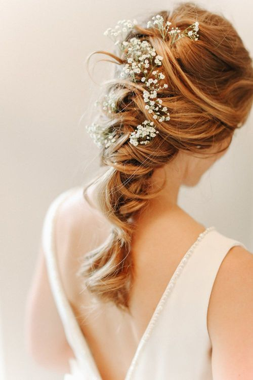 Braided Up Do with Gypsophila | Copper, Marble & Foliage Glass Marquee Wedding & Outdoor Ceremony on Temple Island in Oxfordshire | Belle and Beau Fine Art Photography