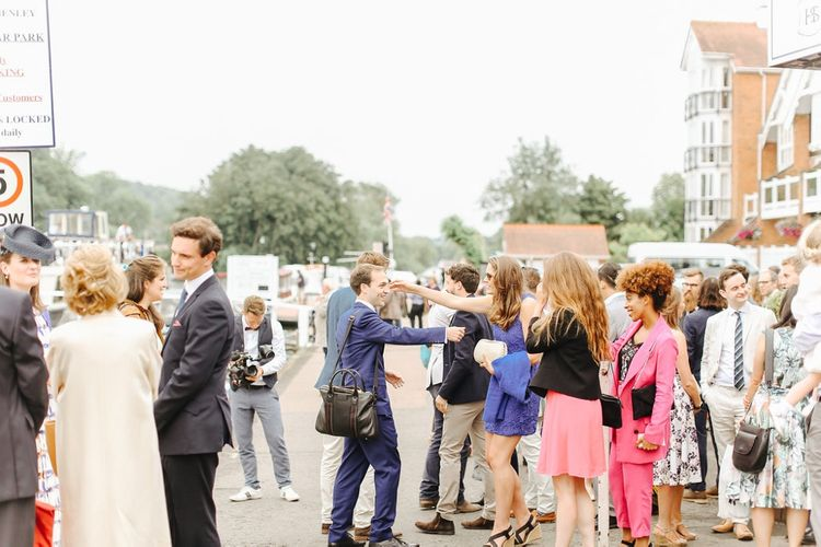 Wedding Guests | Copper, Marble & Foliage Glass Marquee Wedding & Outdoor Ceremony on Temple Island in Oxfordshire | Belle and Beau Fine Art Photography