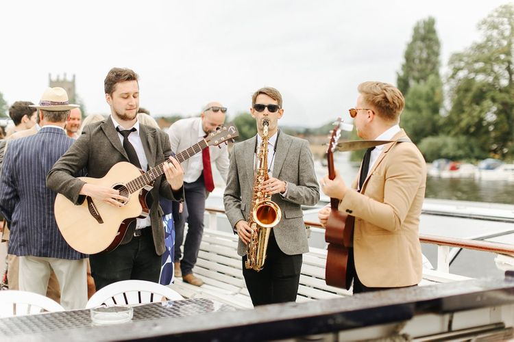 Roaming Band Wedding Entertainment | Copper, Marble & Foliage Glass Marquee Wedding & Outdoor Ceremony on Temple Island in Oxfordshire | Belle and Beau Fine Art Photography