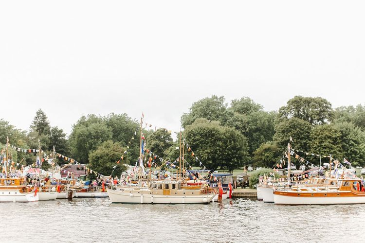 Thames Boats | Copper, Marble & Foliage Glass Marquee Wedding & Outdoor Ceremony on Temple Island in Oxfordshire | Belle and Beau Fine Art Photography