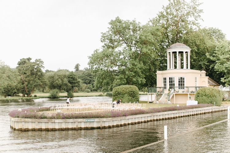 Chapel on Peninsula | Copper, Marble & Foliage Glass Marquee Wedding & Outdoor Ceremony on Temple Island in Oxfordshire | Belle and Beau Fine Art Photography