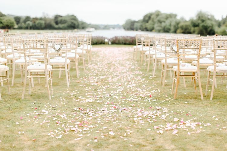 Outdoor Wedding Ceremony | Copper, Marble & Foliage Glass Marquee Wedding & Outdoor Ceremony on Temple Island in Oxfordshire | Belle and Beau Fine Art Photography