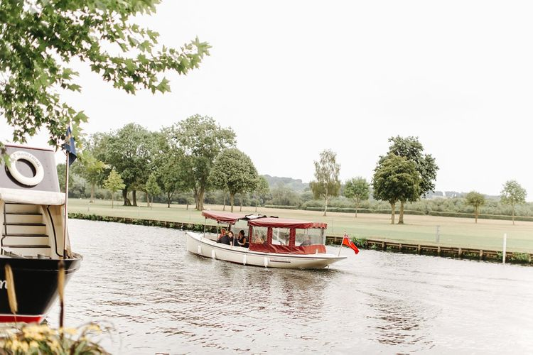 Boat | Copper, Marble & Foliage Glass Marquee Wedding & Outdoor Ceremony on Temple Island in Oxfordshire | Belle and Beau Fine Art Photography