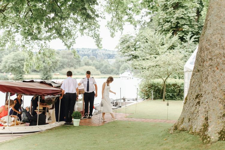 Boat Wedding Transport | Copper, Marble & Foliage Glass Marquee Wedding & Outdoor Ceremony on Temple Island in Oxfordshire | Belle and Beau Fine Art Photography