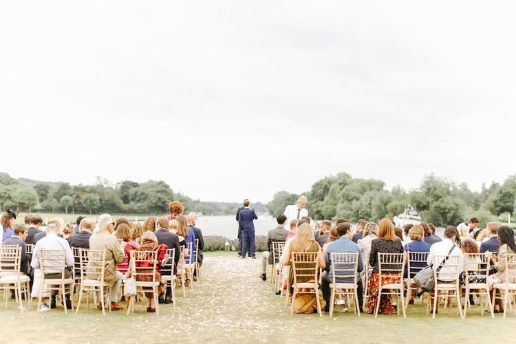 Wedding Ceremony | Copper, Marble & Foliage Glass Marquee Wedding & Outdoor Ceremony on Temple Island in Oxfordshire | Belle and Beau Fine Art Photography