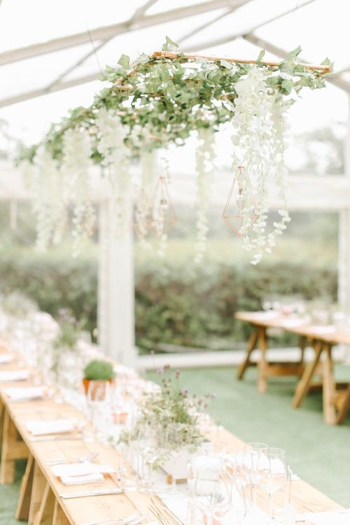 Hanging Flower Installation with Geometric Decor | Copper, Marble & Foliage Glass Marquee Wedding & Outdoor Ceremony on Temple Island in Oxfordshire | Belle and Beau Fine Art Photography