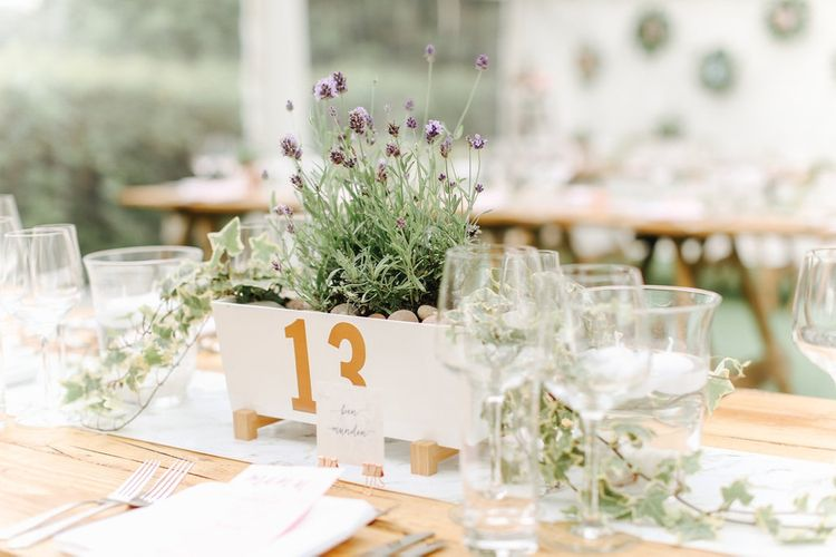 Lavender Box Table Decor | | Copper, Marble & Foliage Glass Marquee Wedding & Outdoor Ceremony on Temple Island in Oxfordshire | Belle and Beau Fine Art Photography