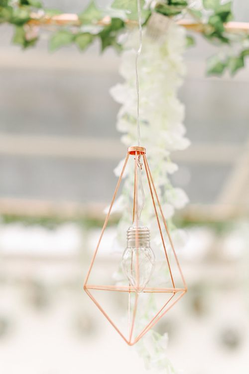 Hanging Geometric Decor | Copper, Marble & Foliage Glass Marquee Wedding & Outdoor Ceremony on Temple Island in Oxfordshire | Belle and Beau Fine Art Photography