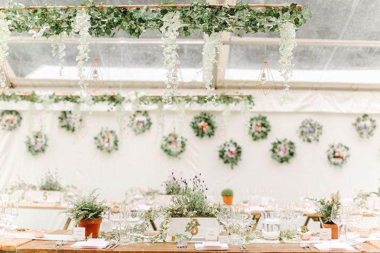 Foliage Wreath Top Table Back Drop | Copper, Marble & Foliage Glass Marquee Wedding & Outdoor Ceremony on Temple Island in Oxfordshire | Belle and Beau Fine Art Photography