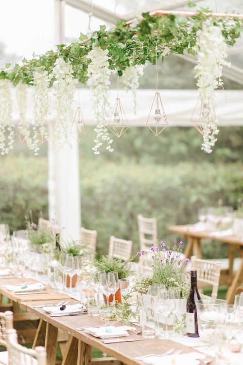 Flower Installation | Copper, Marble & Foliage Glass Marquee Wedding & Outdoor Ceremony on Temple Island in Oxfordshire | Belle and Beau Fine Art Photography