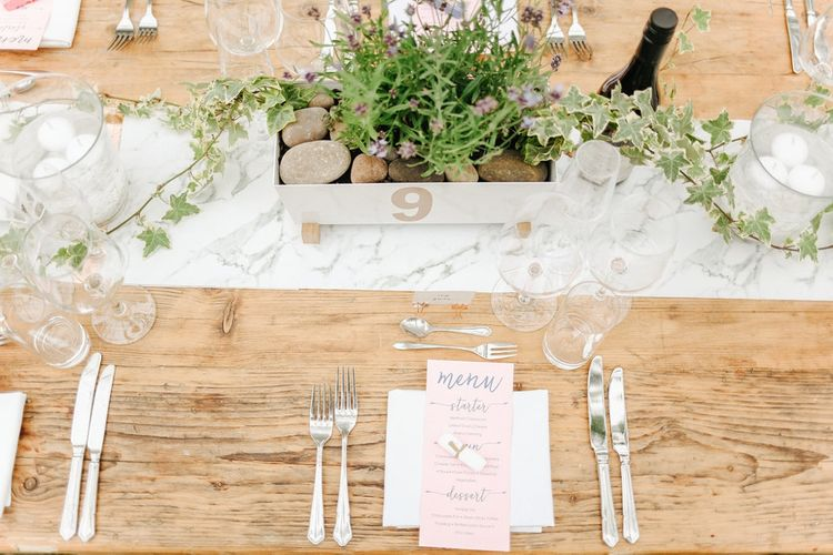Lavender Box Centrepiece | Menu Card Place Setting | Copper, Marble & Foliage Glass Marquee Wedding & Outdoor Ceremony on Temple Island in Oxfordshire | Belle and Beau Fine Art Photography
