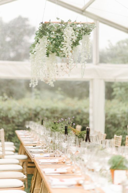 Tablescape | Copper, Marble & Foliage Glass Marquee Wedding & Outdoor Ceremony on Temple Island in Oxfordshire | Belle and Beau Fine Art Photography