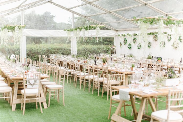 Botanical Wedding Reception | Hanging Flower Installation | Copper, Marble & Foliage Glass Marquee Wedding & Outdoor Ceremony on Temple Island in Oxfordshire | Belle and Beau Fine Art Photography