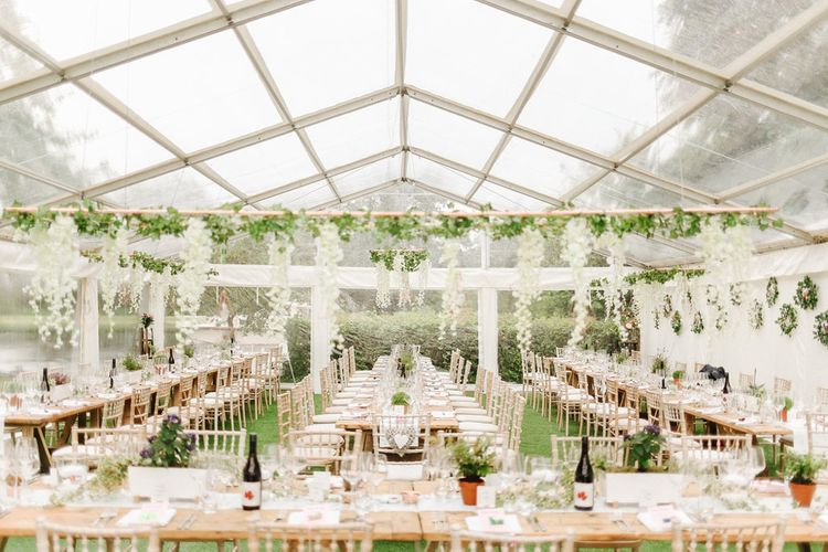 Botanical Wedding Reception Decor | Copper, Marble & Foliage Glass Marquee Wedding & Outdoor Ceremony on Temple Island in Oxfordshire | Belle and Beau Fine Art Photography