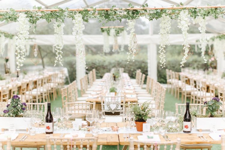 Hanging Flower Installation | Copper, Marble & Foliage Glass Marquee Wedding & Outdoor Ceremony on Temple Island in Oxfordshire | Belle and Beau Fine Art Photography