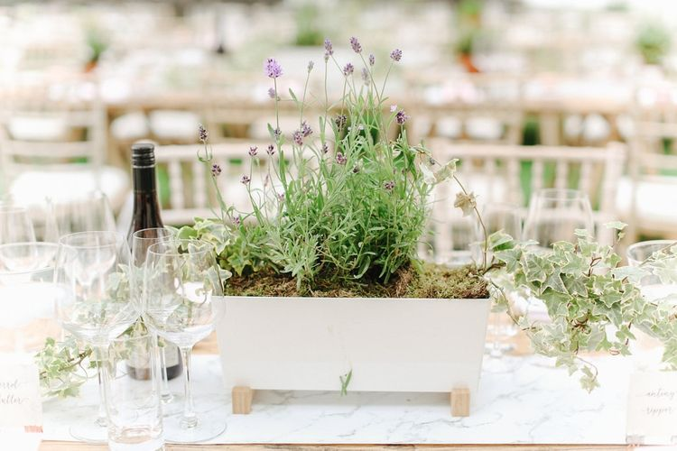 Lavender Flower Box Centrepiece | Wedding Decor | Copper, Marble & Foliage Glass Marquee Wedding & Outdoor Ceremony on Temple Island in Oxfordshire | Belle and Beau Fine Art Photography