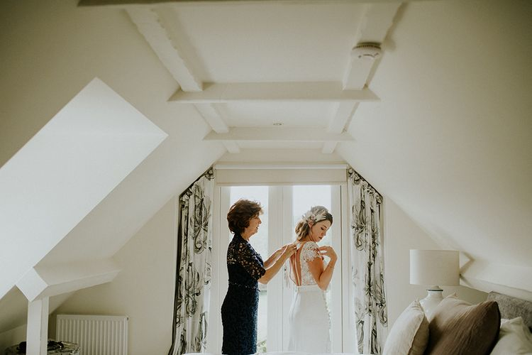 Bridal Preparations | Bride in Amanda Thompson Couture Gown | Feather & Foliage Festival Wedding Weekend at Copse House, Berkshire | Irene Yap Photography | Tanita Cox Films
