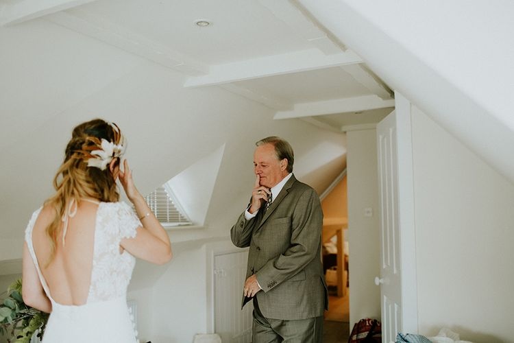 Father of the Bride First Look | Bride in Amanda Thompson Couture Gown | Feather & Foliage Festival Wedding Weekend at Copse House, Berkshire | Irene Yap Photography | Tanita Cox Films