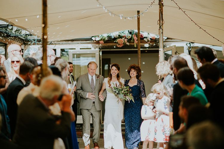 Wedding Ceremony | Bridal Entrance in Amanda Thompson Couture Gown | Feather & Foliage Festival Wedding Weekend at Copse House, Berkshire | Irene Yap Photography | Tanita Cox Films