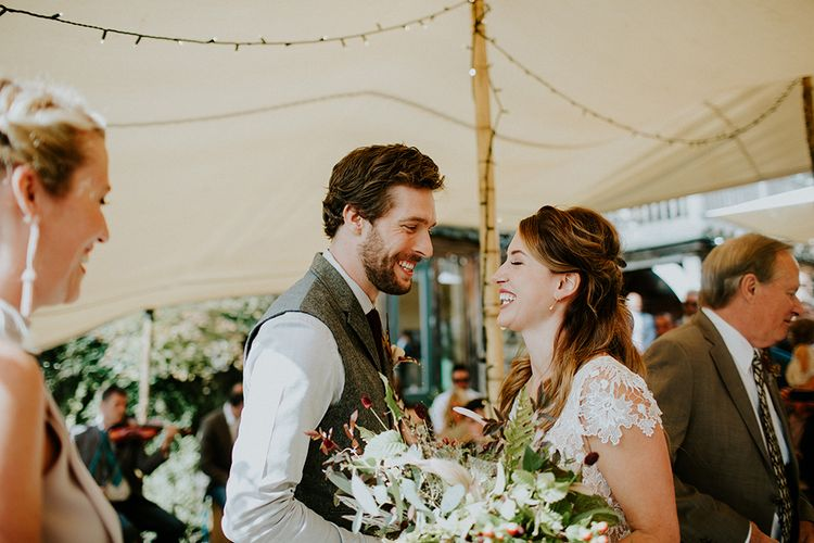 Wedding Ceremony | Bride in Amanda Thompson Couture Gown | Groom in Reiss Suit | Feather & Foliage Festival Wedding Weekend at Copse House, Berkshire | Irene Yap Photography | Tanita Cox Films