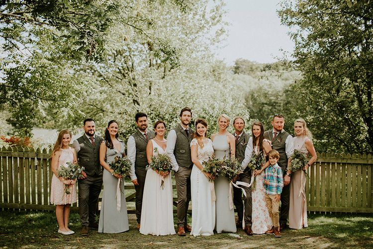 Wedding Party | Bridesmaids in Different Dresses | Bride in Amanda Thompson Couture Gown | Groomsmen in Reiss Suits | Feather & Foliage Festival Wedding Weekend at Copse House, Berkshire | Irene Yap Photography | Tanita Cox Films
