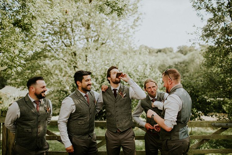 Groomsmen in Reiss Suits | Feather & Foliage Festival Wedding Weekend at Copse House, Berkshire | Irene Yap Photography | Tanita Cox Films