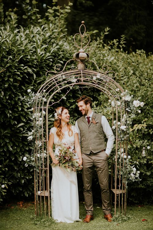 Bride in Amanda Thompson Couture Gown | Groom in Reiss Suit | Feather & Foliage Festival Wedding Weekend at Copse House, Berkshire | Irene Yap Photography | Tanita Cox Films