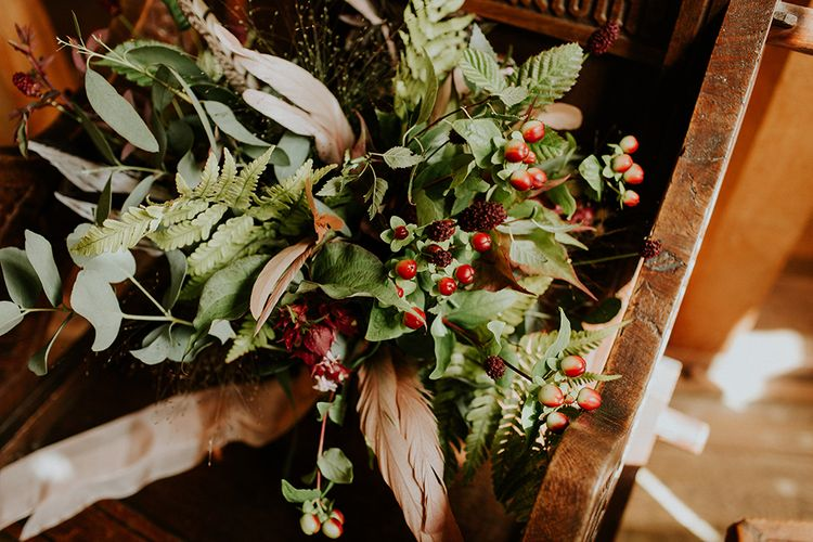 Foliage & Berry Bouquet | Feather & Foliage Festival Wedding Weekend at Copse House, Berkshire | Irene Yap Photography | Tanita Cox Films
